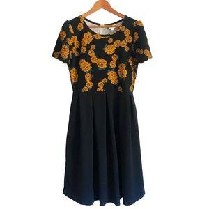 Lularoe Floral & Black Amelia Dress with Pockets